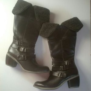 Hush Puppies Black Leather Boots Size 6M